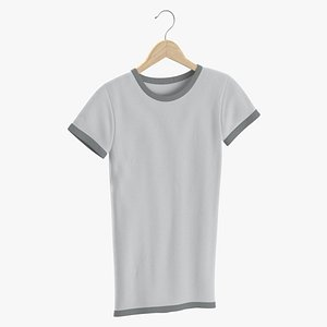 Female Crew Neck Hanging White and Gray 02 3D model