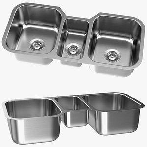 Undermount Triple Bowl Kitchen Sink 3D model