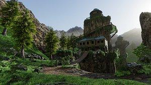 3D House on Mountain Scene