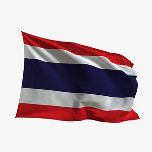 3D Realistic Animated Flag - Microtexture Rigged - Put your own texture - Def Thailand