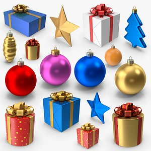 christmas 15 ornaments 3D model