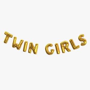 Foil Baloon Words Twin Girls Gold 3D model
