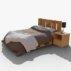 Bed with night stand 3D