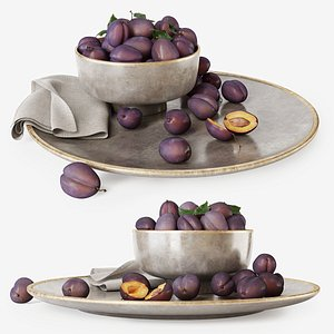 3D Plums on a plate model