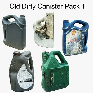3D Old Dirty Canister Pack1 Scan 3D