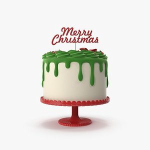 Merry Christmas Cake with Topper Merry Christmas 3D model