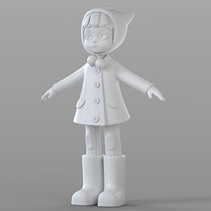 3D model cartoon girl winter