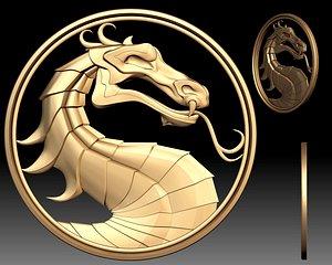 Mortal Kombat Sign Logo 3d relief for CNC router 3D model