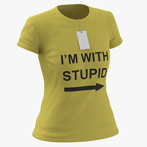 3D Female Crew Neck Worn With Tag Yellow Im With Stupid 01 model