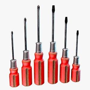 3D vintage screwdriver