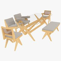 Cassina Jeanneret Capitol Complex Clear Table and Seating Set