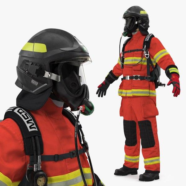 3D model firefighter suit neutral pose