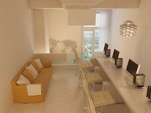 Japanese-style minimalist office 3D model