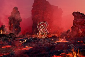 3D Volcano burning logo Magma lava moutain Fire Finalized