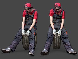 3D Stylized Car Mechanic Character