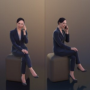 10279 Bao - Business Woman Sitting And Talking On The Phone 3D