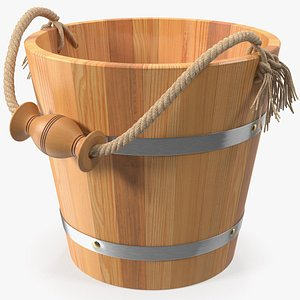 3D wooden sauna bucket model