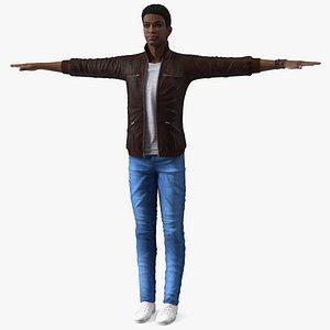 Teenager Dark Skin Street Outfit T Pose 3D