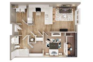 3D 1BHK floor plan model