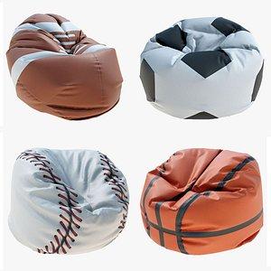 3D BEAN BAGS SPORTS BALLS SET model