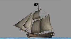 Battle sail sloop model