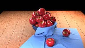 3D Apple Fruit Bowl