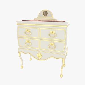 3D Dresser Victorian White