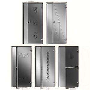 3D model Glass metal swing door
