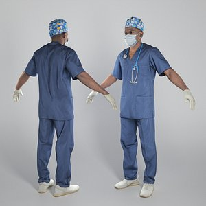 3D Surgical doctor in sterile mask and gloves in A-pose 308