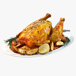 3D Food Set 01  Roasted Chicken with Potatoes and Rosemary