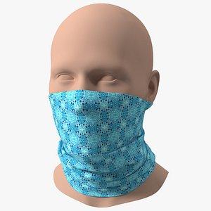 3D Breathable Half Face Neck Gaiter Blue model