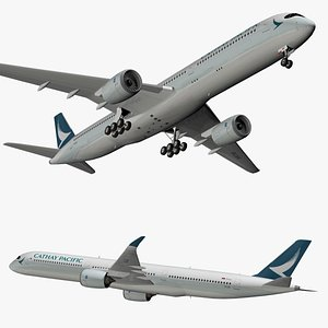 airbus a350 cathay 3D model
