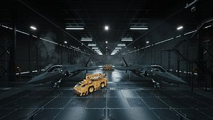 C4D OCTANE RENDER Military base aircraft factory fighter F-22 F-35 US 3D