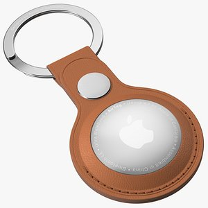 3D Apple AirTag Leather Key Ring Brown