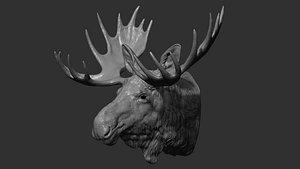 Moose Elk head 3D model