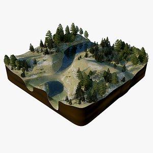 3D forest tree landscape