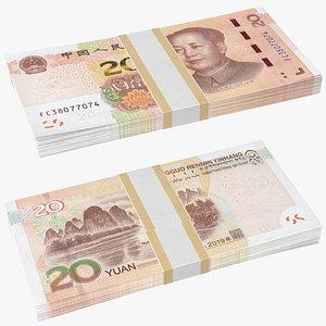 3D Pack of Chinese 20 Yuan 2019 Banknotes model