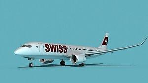 Bombardier CS100 Swiss Air 3D model