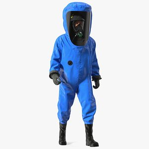 Fully Encapsulating Chemical Protection Suit Walking Pose 3D model