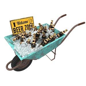 wheelbarrow wheel beer 3D