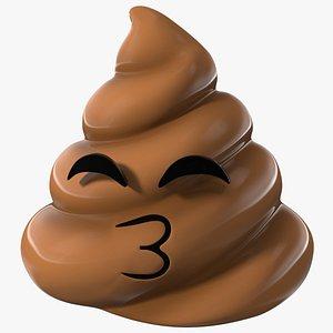 Kissing Face Smiling Poop Emoji Smile 3D model