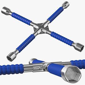 Anti Slip Four Way Lug Nut Wrench 3D model