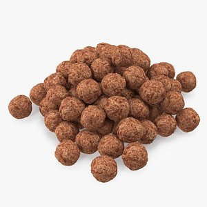 3D Cereal Chocolate Balls Pile