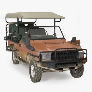 Safari Open Sided 4x4 Vehicle Rigged 3D
