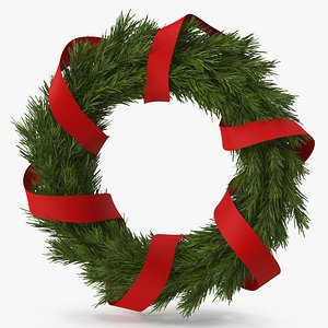 3D Christmas Wreath with Red Ribbon model