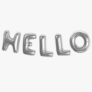 3D Foil Baloon Words Hello Silver
