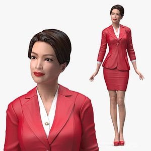 Asian Business Woman Standing Pose 3D model