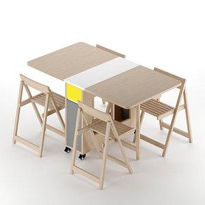 extendable dining table folding 3D model