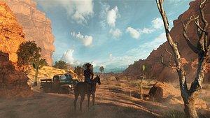 C4D Octane render Canyon Cowboy Scene Canyon Mountains 3D model