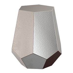 3D Silverd Metal Accent Stool by Mercury Row model